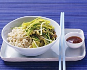 Chinese vegetable stir-fry with brown rice
