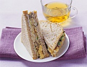 Vegetarian mango, tofu and soft cheese sandwich