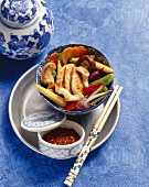 Chicken with stir-fried mixed vegetables