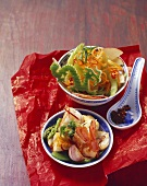 Chinese summer salad and stir-fried prawns with tofu