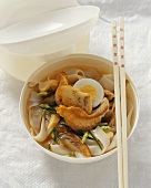 Rice noodle soup with catfish and bamboo