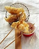 Fried jiaozi (Filled dumplings, China)