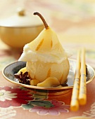 Pear in tea syrup with lemon ice cream