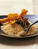 Brown sugar, mandarin orange peel and star anise