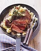 Beefsteak with cabbage
