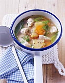 Chicken soup with swedes