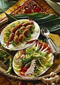 Breaded tuna balls and mixed salad (India)