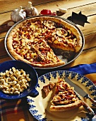 American cowboy pizza topped with beef fillet & baked beans