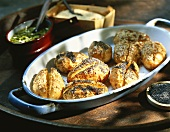 Oven-baked potatoes with poppy seeds and sesame seeds