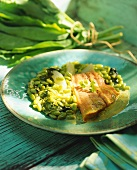 Salmon trout fillet with soya beans and sorrel sauce