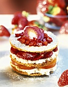 Millefeuille filled with strawberries, apple & whipped cream