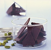 Cardamom chocolate pieces to serve with coffee