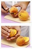 Halving peaches