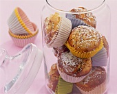 Apricot and mint muffins in a glass container