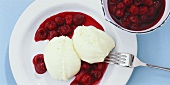 Goat's cheese mousse with cherries in red wine sauce