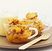 Apricot crumble with custard