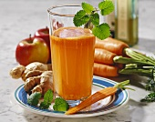 Carrot and apple juice with ginger