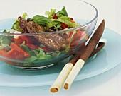 Insalata con tagliata di manzo (Salad with beef fillet)