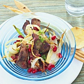 Chicken liver with pomegranate seeds and fennel