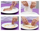 Breading an escalope