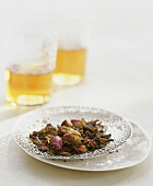 Rose tea with dried rose buds