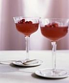 Wild strawberry jelly in glasses