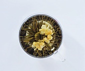 Tea flower with flowers in a glass cup