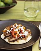 Lamb kebab on plate