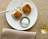 Crab cakes with herb yoghurt dip