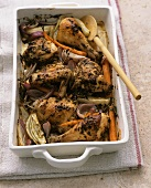 Roast chicken with mustard, shallots and fennel