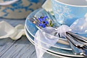 Place settings with borage flowers