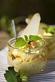 Vanilla quark with rum and pears