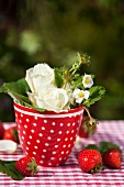 White roses and strawberry flowers in a flowerpot