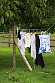 Washing drying on a line in a garden