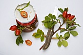 Rosehip sprigs and rosehip jam
