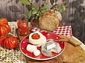 Cream cheese with tomato chuntey