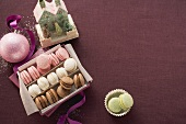 Colourful Christmas macaroons