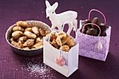 Christmas almonds with caramel and chocolate glaze