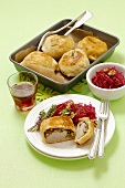 Pork tenderloin and mushrooms baked in puff pastry