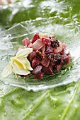 Beetroot salad with a flower