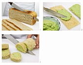 Bread roulade with herb cream cheese being prepared