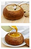 Gemüsecremesuppe in ausgehöhltem Brot servieren