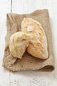 Bread rolls on a jute sack