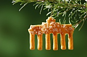 A Christmas biscuit on a pine branch