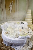 A table of wedding cakes