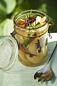 Pickled pears with spices and rosemary