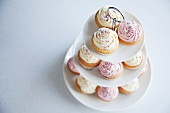 Cupcakes on tiered stand