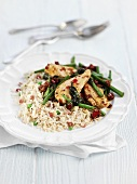 Chicken fillet with chillis and rice