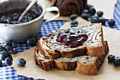 Yeast cake with blueberry jam