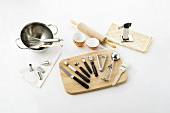 Various kitchen tools and baking utensils